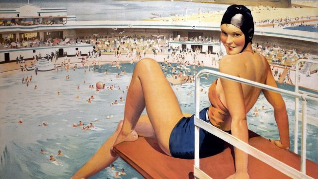 Vintage railway poster from Art Deco by the Sea exhibition