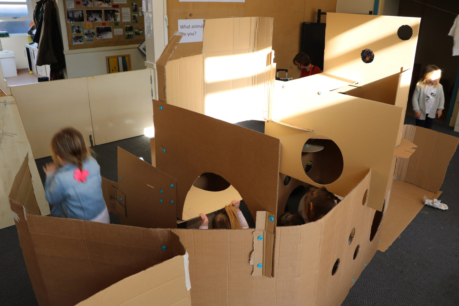 cardboard, children, light
