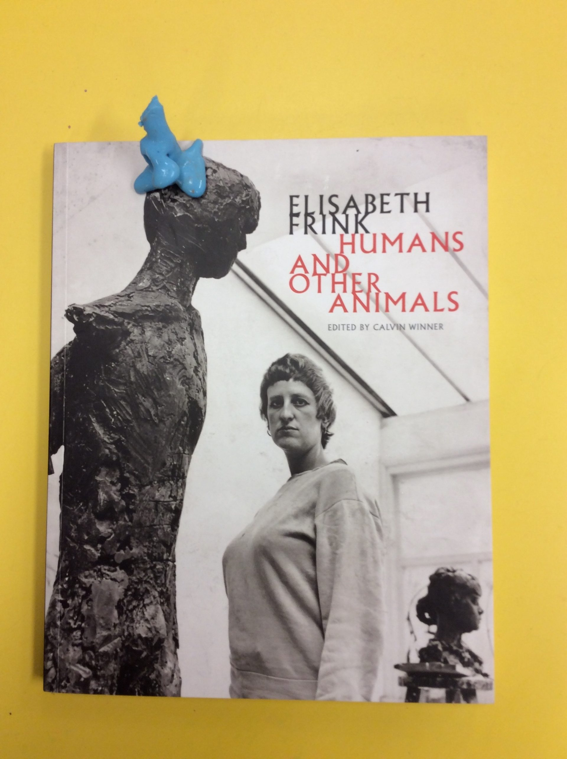 Elisabeth Frink book cover, blue blob, yellow