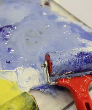paint and roller at Sainsbury Centre artist programme