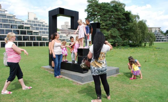 Families interact with Ian Tyson's Proximity, 2006, as part of the Making Friends project with Earlham Nursery School, 2017