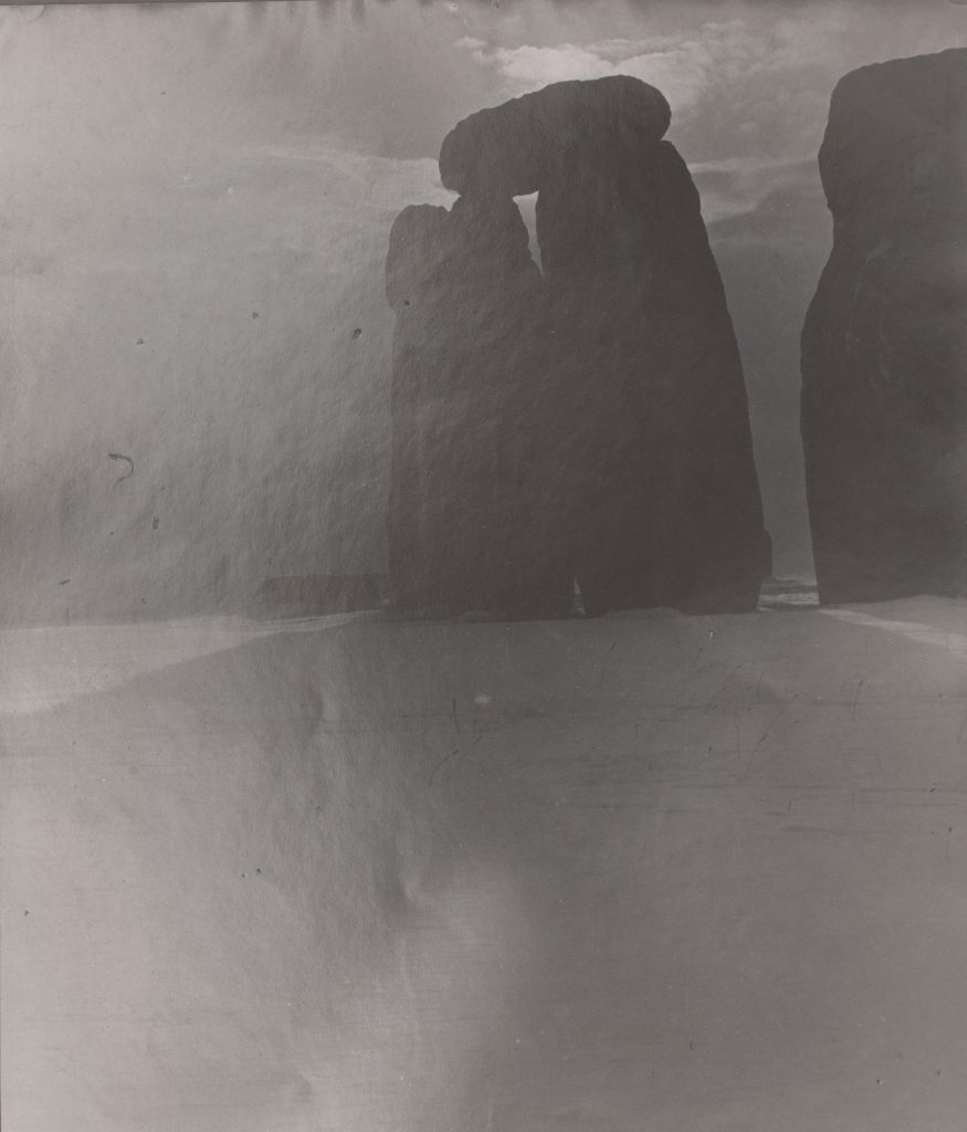 Black and white photograph of the historical site of Stonehenge