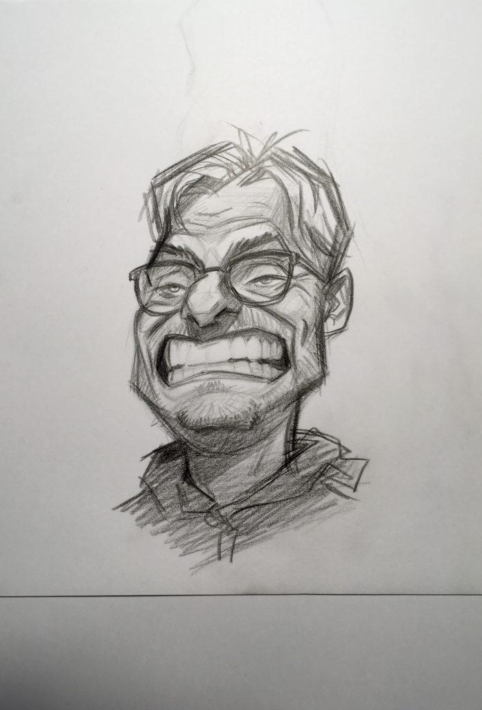 Drawn caricature of Liverpool FC manager Jürgen Klopp