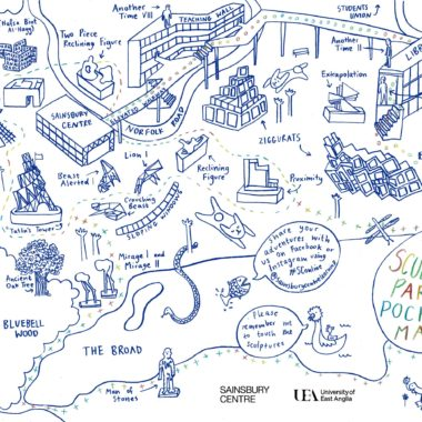 A hand drawn illustration of the Sculpture Park