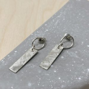 Textured Silver rectangle earrings