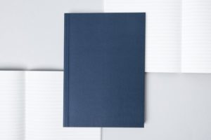 A5 Layflat Notebook ruled pages - Navy & Otti Rust