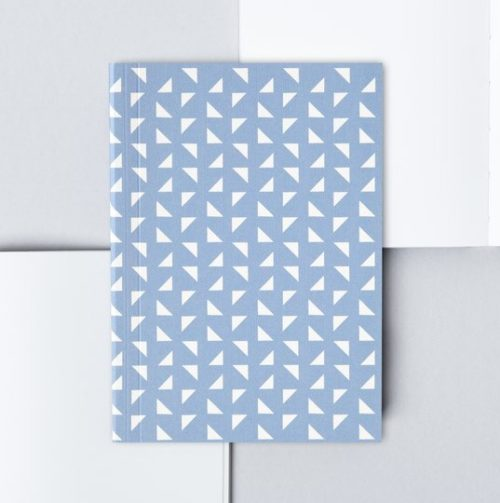 A6 Layflat Pocket Notebook plain pages - Massi print in Salvia Blue