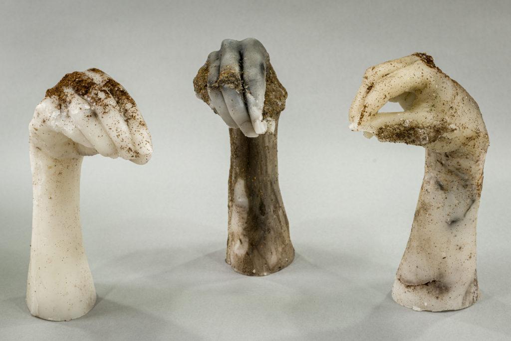 Wax sculptures in the shape of hands