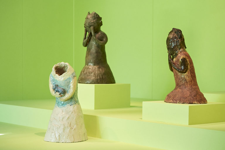 Sculptures by Leiko Ikemura on view at the Sainsbury Centre