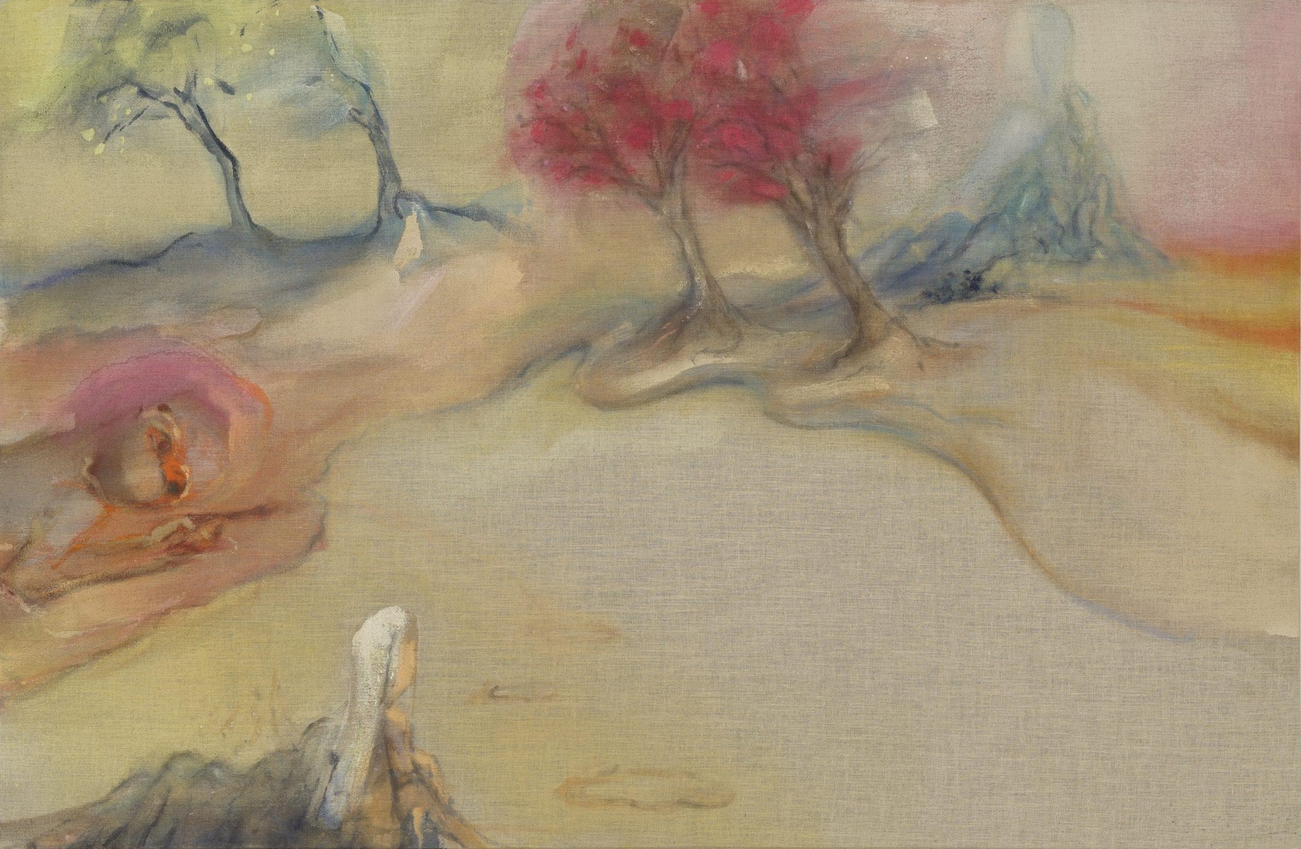 Tempura painting depicting a human figure in a landscape