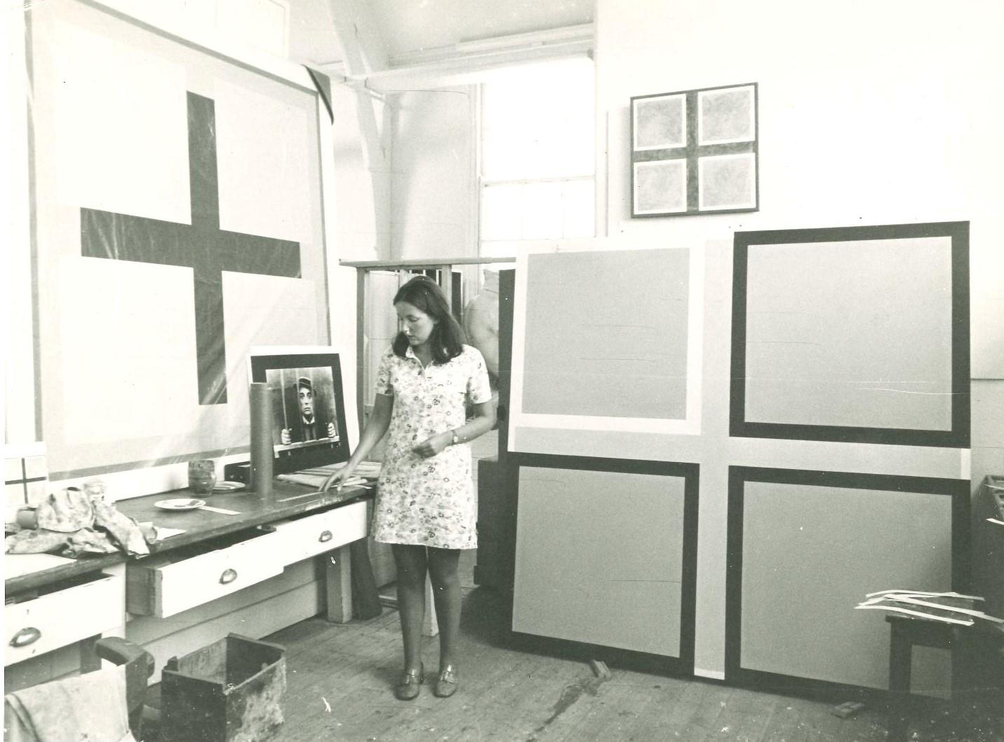 Mary Webb in her studio, Norwich School of Art, 1967.