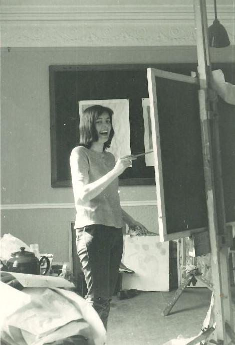 Mary Webb, painting studio, Newcastle, 1962