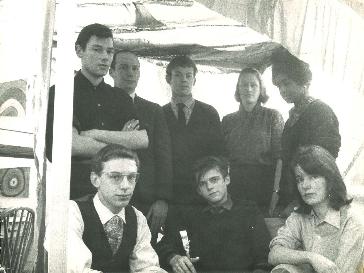 The Rainbow Project at Newcastle, 1963 with artist Richard (Dick) Smith (second from the left, back row). Mary Webb (bottom right) with fellow students.