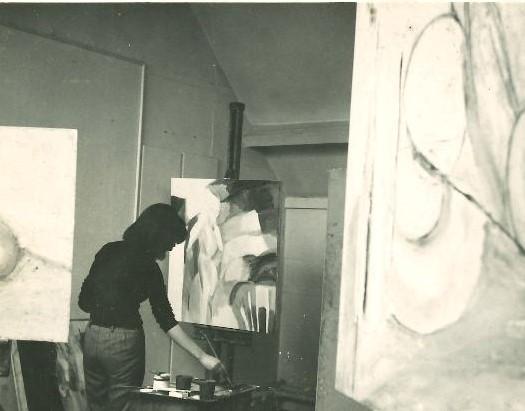 Mary Webb, painting studio, Newcastle, 1962.