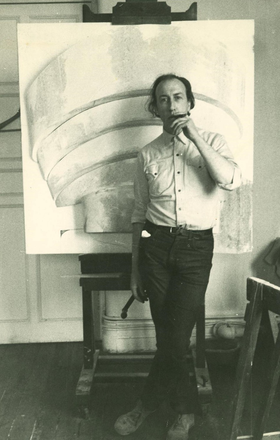 Mary Webb's tutor, the artist Richard Hamilton in front of one of his iconic relief paintings of the Guggenheim Museum, photographed at Newcastle, 1964.